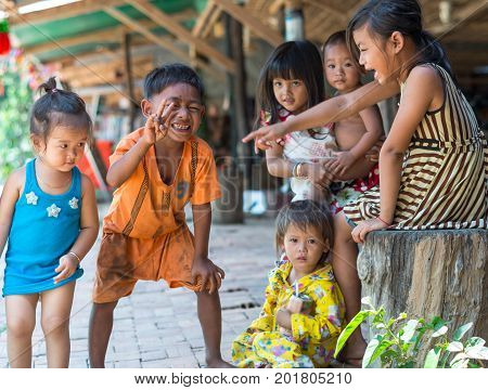 SIEM REAP CAMBODIA - MAY 2 : Unidentified childrens of Cambodian at kabal spean on May 2 2015 in Siem Reap Cambodia