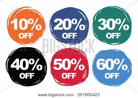 Colorful symbols discount collection set 10% off 20% off 30% off 40% off 50% off 60% off. Icons vector illustration for sale promotion or other uses.
