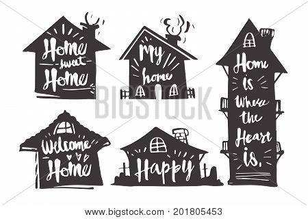 Hand drawn Caligraphy in silhouette house Home sweet home My home Welcome home Happy Home is where the heart is icon or logo. Lettering calligraphy vector illustration.