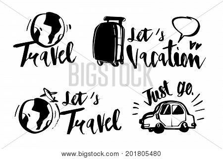 Hand drawn calligraphy Travel icons set. Handwritten lettering. illustration vector label design.