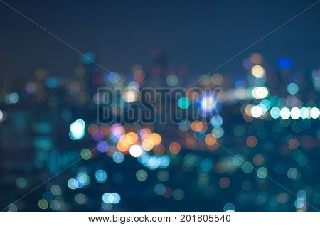 Blurred Photo bokeh of city scape  at night