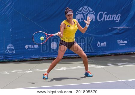 BANGKOK MAY 27 : Kamonwan Buayam of Thailand action in Chang ITF Pro Circuit 4 International Tennis Federation 2015 on WS main draw at Rama Gardens Hotel on May 27 2015 in Bangkok Thailand.