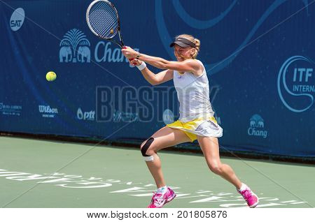 BANGKOK MAY 27 : Zoe Hives of Australia action in Chang ITF Pro Circuit 4 International Tennis Federation 2015 on WS main draw at Rama Gardens Hotel on May 27 2015 in Bangkok Thailand.