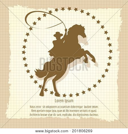 Cowboy rodeo man on old style vintage backdrop, vector illustration