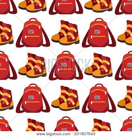 Popular youth accessories, bright backpack and boots seamless pattern, vector illustration
