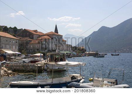 PERAST, MONTENEGRO - AUGUST 04, 2017:Quay of the city of Perast in Montenegro
