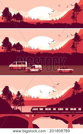 Set of vector banners panoramic sunset landscape in a mountainous area a variety of transport for travel