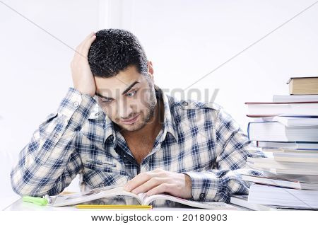Worried Student Looking Books On White Background