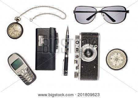 Objects For Travel Isolated On White Background: Compass, Camera, Tape Recorder, Glasses, Pocket Wat