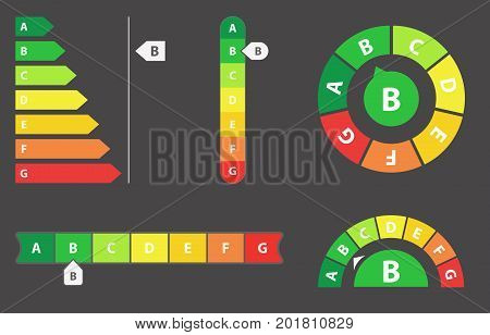 Energy Efficiency rating vector illustration set isolated on background