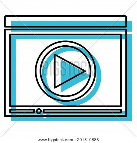 blue watercolor silhouette of window with start playback icon vector illustration