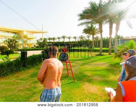 Sharm el Sheikh -April 11, 2017: Tourists doing the animation game at Barcelo Tiran Sharm Hotel 5 at Sharm el Sheikh on April 11, 2017