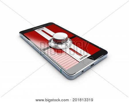 3D Illustration Of Modern Smartphone With Combination Lock Padlock. Concept Of Mobile Phone Security