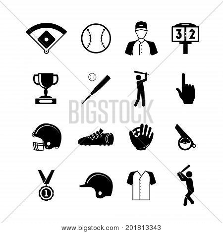 Symbol of Sport Baseball Black Icons Set Element Web Design for Competition Playing, Training and Relaxation Activity Game. Vector illustration of Baseball Glove and Other