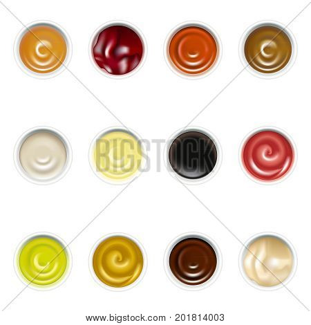 Realistic Detailed Sauces in Plate Set Ketchup, Mustard, Mayonnaise, Wasabi and Other Top View Portion. Vector illustration of Sause for Menu