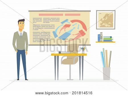 History teacher - modern cartoon people characters illustration. An image of a modern school and classroom with visual aids, map, bags, desk, tubes, chair, board, books, folders