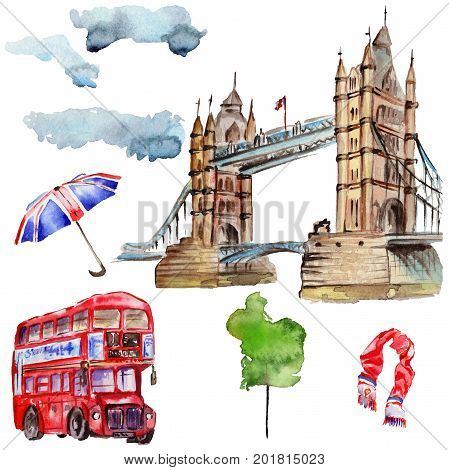 Watercolor London illustration. Great Britain hand drawn symbols: red phone booth, Big Ben clock, flag of Great Britain, Tower Bridge. Aquarelle elements for background, texture, wrapper pattern.