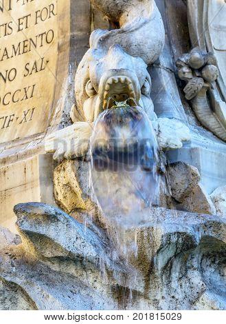 Della Porta Fish Fountain Piazza della Rotunda Rome Italy. Fountain created in 1575 by Giacomo Della Porte.