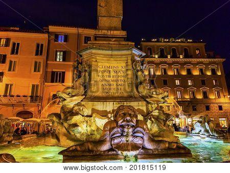 Della Porta Fountain Piazza della Rotunda Pantheon Night Rome Italy. Fountain created in 1575 by Giacomo Della Porte.