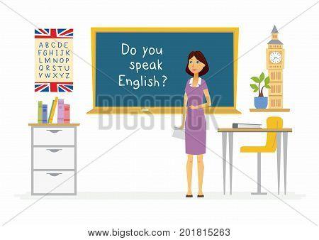English teacher at school - cartoon people characters illustration. Composition with visual aids, books, alphabet, plant, desks, Big Ben, chair, blackboard, chair, bookshelf