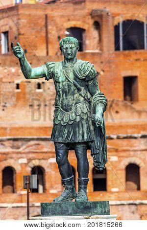 August Caesar Bronze Statue Trajan Market Rome Italy. Trajan Market built between 100 to 110 AD. Modeled on ancient statue of Augustus Cesar