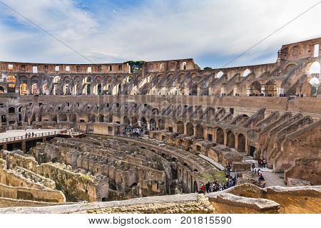 ROME, ITALY - January 19, 2017 Colosseum Rome Italy. Built by Emperors Vespasian and Titus in 80 AD with sand and concrete largest amphitheater every built. Symbol Imperial Rome. Could hold 50 to 80000 spectators.