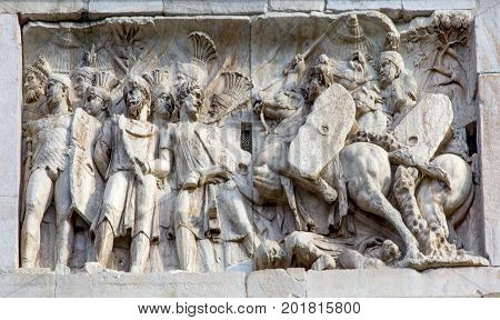 Roman Legionnaires Military Battle Arch of Constantine Rome Italy Arch built in 315 AD to celebrate Emperor Constantine's victory in 312 over co-emperor Maxenntius. Constantine attributed victory to vision of Jesus Christ made Christianity legal