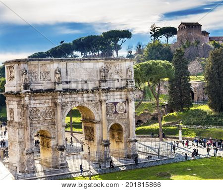 Arch of Constantine Rome Italy Arch built in 315 AD to celebrate Emperor Constantine's victory in 312 over co-emperor Maxenntius. Constantine attributed victory to vision of Jesus Christ made Christianity legal