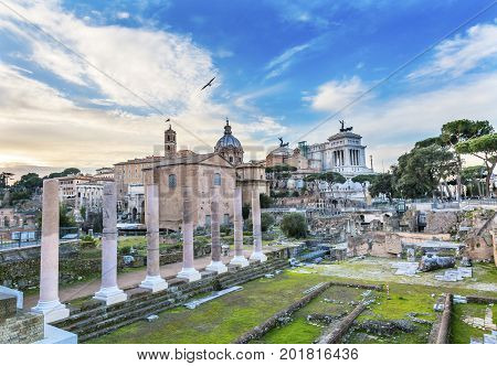 Curia Churches Columns Roman Forum Rome Italy. Forum rebuilt by Julius Ceasar in 46 BC