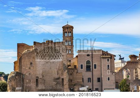 Temple Venus and Rome Santa Francesca Romana Roman Forum Rome Italy Forum rebuilt by Julius Ceasar in 46 BC