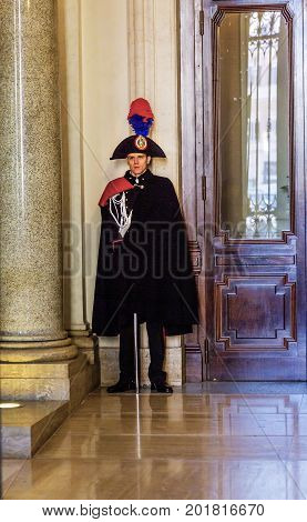 ROME, ITALY - January 19, 2017 Itallian Officer Ornate Uniforms Madama Palace Italian Senate Parliament Building Rome Italy. Palace built in 1505 by the Medici Family