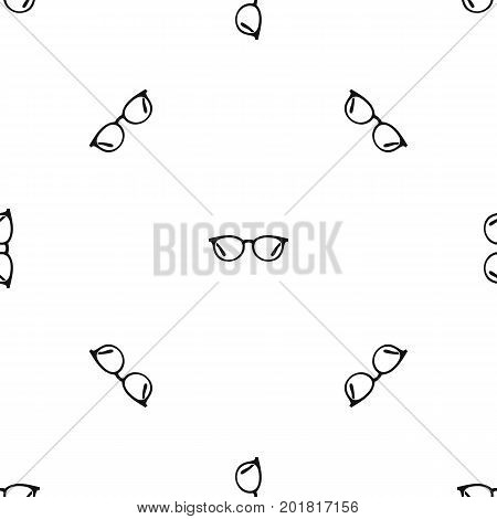Glasses pattern repeat seamless in black color for any design. Vector geometric illustration