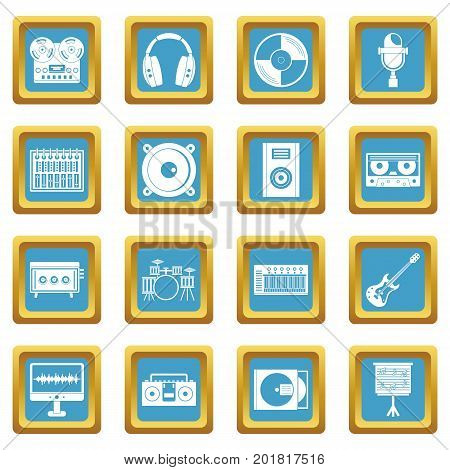Recording studio items icons set in azur color isolated vector illustration for web and any design