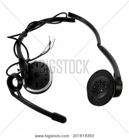 Broken Head Phone on Isolated White Background