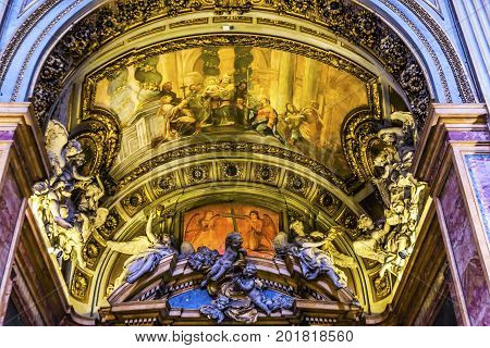 ROME, ITALY - January 19, 2017 Chiesa San Marcello al Corso Arch Frescoes Basilica Church Rome Italy. Built in 309 rebuilt in 1500s after sack of Rome. Frescoes are from the 1600s