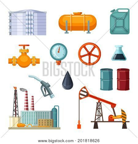 Oil industry. Vector pictures set of petroleum extraction. Business industrial processing fuel oil and gas illustration