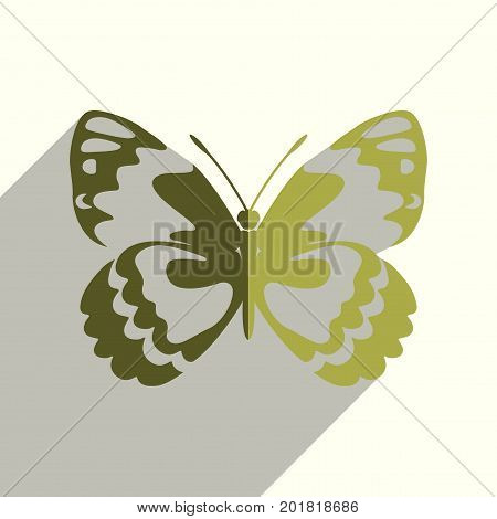 Butterfly flat icons with of shadow. Simple vector illustration