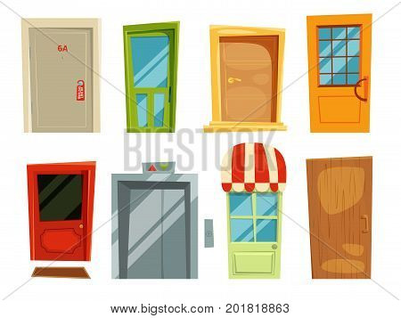 Decorative doorway and different retro doors in cartoon style. Vector pictures set of door for house and home, illustration of entrance and exit doors