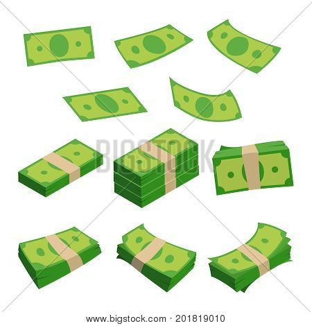 Monetary denomination, different stacks of money. Dollars isolated on white. Vector illustrations set of cash money currency, investment bill stack