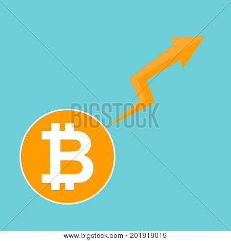 Bitcoin symbol. Cryptocurrency market trend on blue background economy chart