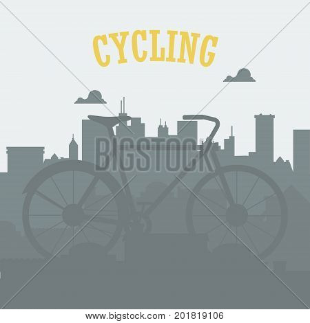 Bicycle concept. Bicycle in the city. Urban cycling with city silhouette