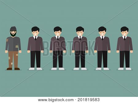 Group of rich men and homeless man character. Vector illustration