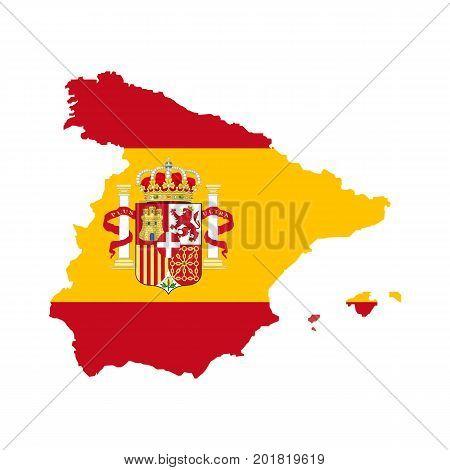 Spain map with spain flag inside. Vector illustration