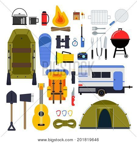 Camping equipment for travel. Hiking accessories vector icon set in flat style. Guitar and boat, trailer and flashlight, tourism travel adventure, equipment for hiking illustration