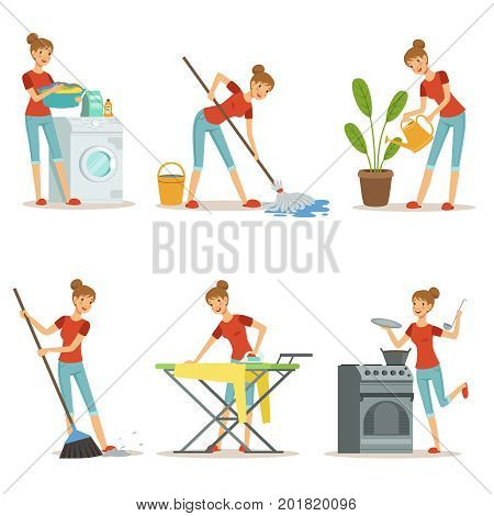 Housewife make different domestic works. Mother occupation. Vector cartoon characters set. Housework and housewife, wife and mother illustration