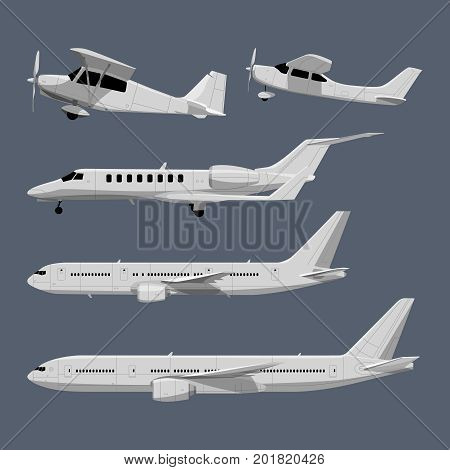 Vector illustrations of airplanes in cartoon style. Airplane travel and transportation, flight transport aviation