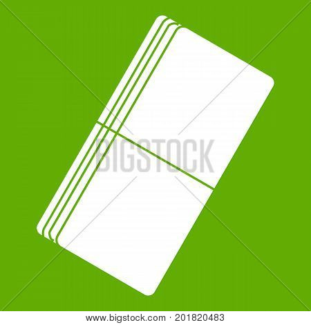 Eraser icon white isolated on green background. Vector illustration