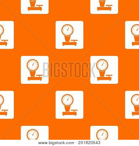 Weight scale pattern repeat seamless in orange color for any design. Vector geometric illustration
