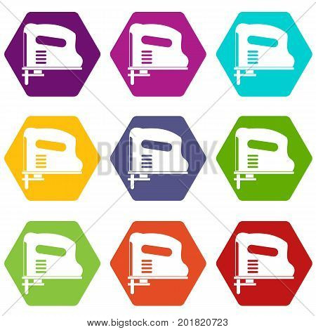 Pneumatic gun icon set many color hexahedron isolated on white vector illustration