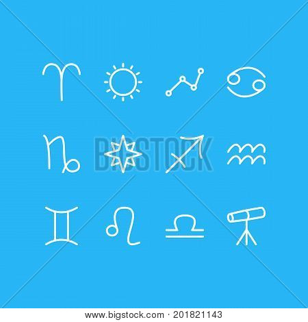Editable Pack Of Lion, Twins, Water Bearer And Other Elements.  Vector Illustration Of 12 Constellation Icons.